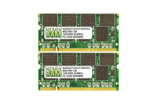 2GB (2x1GB) DDR-333MHz PC-2700 2Rx8 2.5V SODIMM Memory for Laptop, -