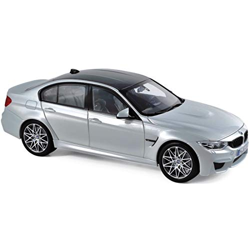 2017 BMW M3 Competition Package Silver with Black Top 1/18 Diecast Model Car by Norev 183235