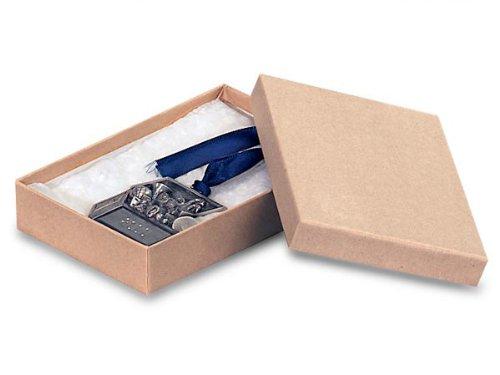 7x5x7/8'' Brown Kraft Jewelry Boxes w/ Non-tarnish Cotton (Unit Pack - 100)