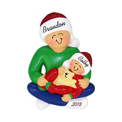 Personalized Ornament Brother Big (Calliope Designs Sibling Big Brother with Baby or Toddler Personalized Christmas Ornament)
