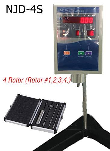 Digital Rotary Viscometer Viscosity Liquid Viscometer 1 to 2000000 mPa.s Viscosity Meter Tester NDJ-4S Fluidimeter Viscometer Accuracy ±2% Digital LCD Display with 4 Rotor Viscosity Measurement