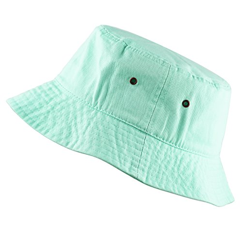 The Hat Depot 300N Unisex 100% Cotton Packable Summer Travel Bucket Hat (L/XL, Aqua)