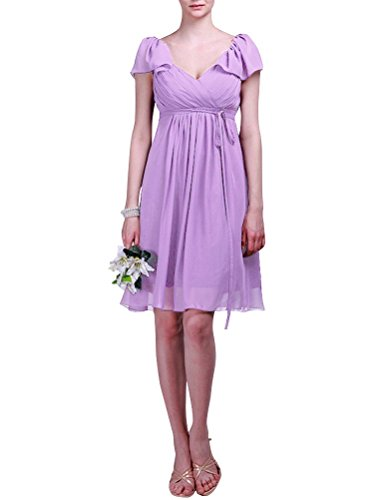 WeiYin Women's Short Sleeve Knee-Length Bridesmaid Mother of the Bride Evening Dresses Lavender US 12