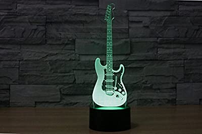 3D Electric Guitar Music Model Night Light 7 Color Change LED Table Desk Lamp Acrylic Flat ABS Base USB Charger Home Decoration Toy Brithday Xmas Kid Children Gift