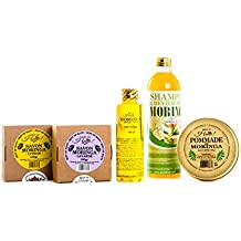 Moringa Hair & Skin Care Set - Moringa Soap + Moringa oil + Moringa Shampoo & Conditioner - 100% Natural Products - Hair fertilizer pomade.