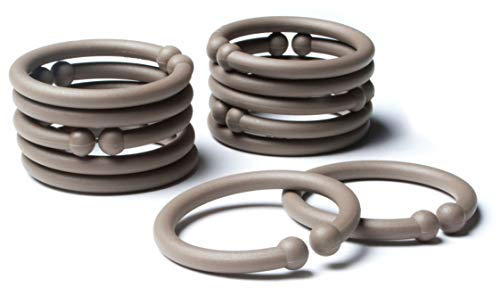 BIBS Loops BPA-Free Baby Link Rings for Strollers, Crib, Toys, and Travel | Made in Denmark (Dark Oak) 12-Pack
