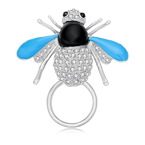 BEICHUANG Gold Silver PLated Crystal Insect Eyeglass Sunglass Holder Delicate Blue Fly Brooch - Sunglasses Bee Gold