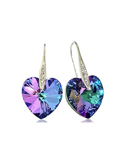 Artnouveau Elle Heart Pendant Drop Hook Earrings with Purple Crystals from Swarovski (Vitrail -