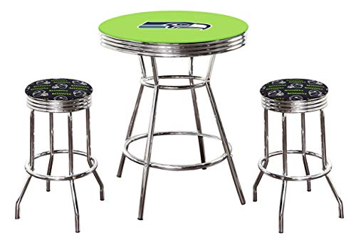 The Furniture Cove 3 pc - Seahawks Bar Table Set with a Bright Green Laminate Top and Glass and 2 Bar Stools Featuring Team Logo Fabric Covered Cushions - Free Table Top Football Lamp Included!