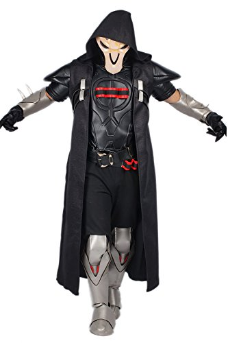 Overwatch Reaper Costume (Reaper Costume Cosplay Outfit Suit for Adult Halloween Clothing L)