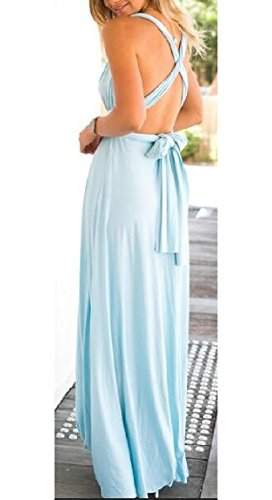 Backless Maniche Bende Sera Azzurro Maxi Cross Womens Di Halter Vestito Jaycargogo Partito Criss RAYgYn