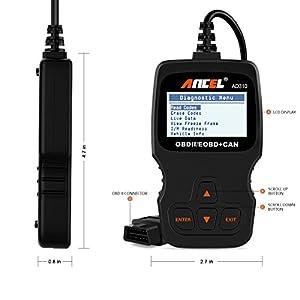 ANCEL AD310 Classic Enhanced Universal OBD II Scanner Car Engine Fault Code Reader CAN Diagnostic Scan Tool - Black