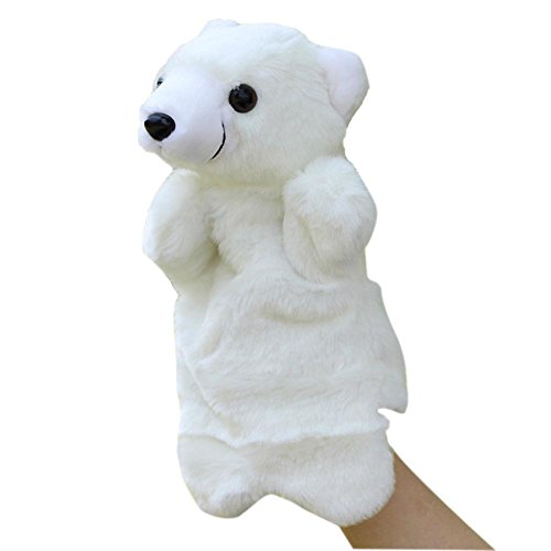 - BIBITIME Polar Bear Glove Puppet White Animal Plush Hand Puppets Toys Playset for Educational Telling Story (9.84