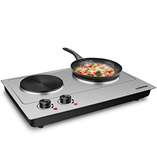 CUSIMAX Electric Burner, Double Hot Plates, Hot Plate for cooking, Countertop Burner