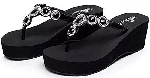 Gimekiss Pumps Women's Rhinestone Platform Mid Heel Wedges Sandals Thong Slippers Black A7.5 B(M) US