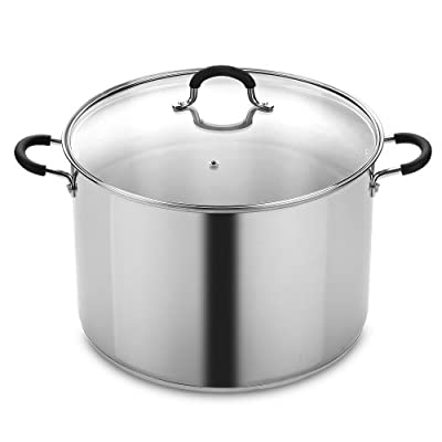 Cook N Home 02442 Stockpot Saucepot with Lid Induction Compatible, 16 quart, Metallic