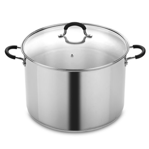20 quart stock pot red - 3
