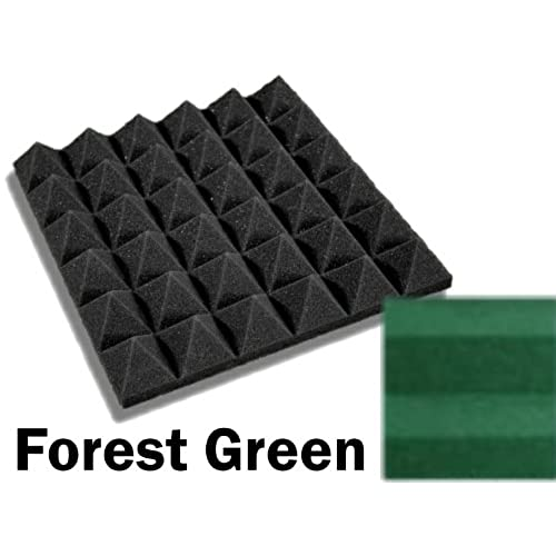 48 pack of 12 x 12 x 2inch acoustical pyramid foam panel for studio u0026 home theater forest green