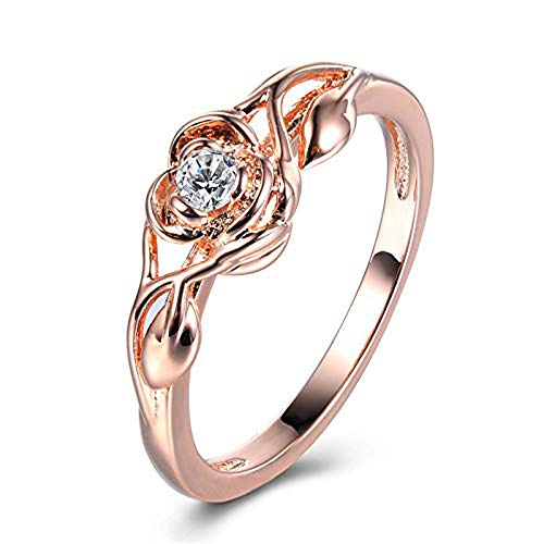 Floral Rings ODGear Women Silver Transparent Flower Vine Leaf Ring Wedding Gift Engagement Diamond (US 7, Rose Gold)