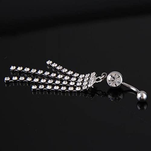 Tools Ecloud Shop/® 316L Stainless Steel Tassel Chain Dangle Navel Belly Button Ring Bar