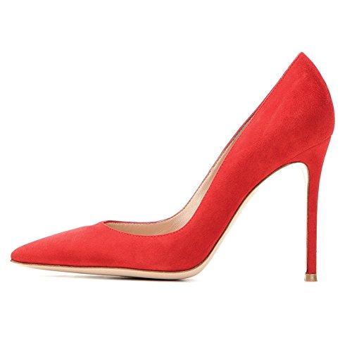 High Talons Daim Sexy Shoe Edefs Escarpin Stiletto Escarpins Cm Nude Aiguilles Femme Chaussures 10 Rouge Heel qwZwxtvB