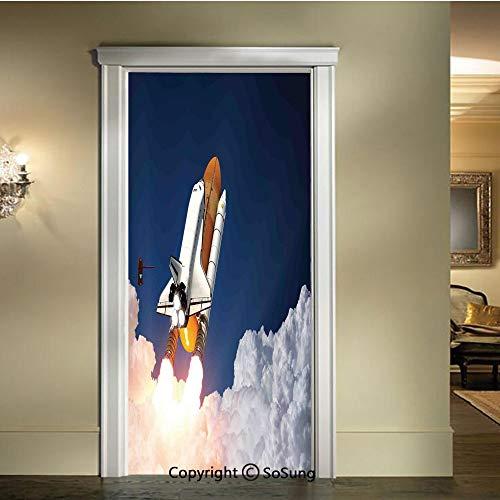 Hydro Blast Suit - baihemiya 3D Door Mural Wallpaper Stickers,Space-Rocket-Lifting-Through-The-Clouds-Blast-Explore-The-Galaxy-ISS-Photo,W30.3xL78.7inch,Self-Adhesive Wall Door Stickers DecorWhite-Blue-Orange
