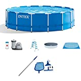 "Intex 15' x 48"" Metal Frame Above Ground Swimming Pool Set w/Pump Cover LadderIntex Cleaning Maintenance Swimming Pool Kit w/Vacuum Skimmer & Pole 