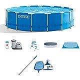 Intex 15' x 48' Metal Frame Above Ground Swimming Pool Set w/Pump Cover LadderIntex Cleaning Maintenance Swimming Pool Kit w/Vacuum Skimmer & Pole | 28002E