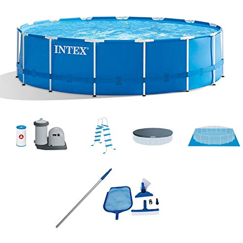 l Frame Above Ground Swimming Pool Set w/Pump Cover LadderIntex Cleaning Maintenance Swimming Pool Kit w/Vacuum Skimmer & Pole | 28002E ()