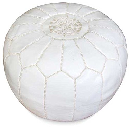 22'' Moroccan white Pouf leather Ottoman Footstool Pouffe Hassock New Pouff poof by moroccanmasterpiece