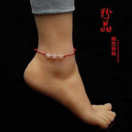 a8a85910a947 99 de plata fina de cuarzo rosa roja para el tobillo pulsera de hilo ...
