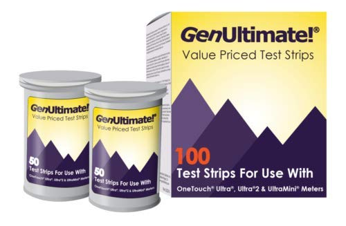 Genultimate Blood Glucose Test Strips for Use with One Touch Ultra Meter, 100 Strips with 100 Lancets by Bistras