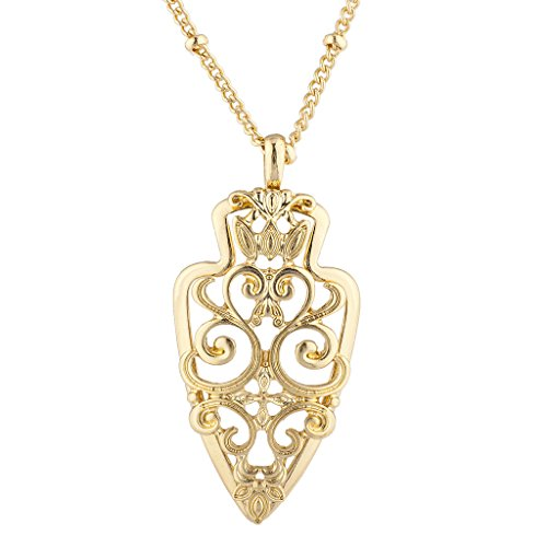 Lux Accessories Goldtone Casted Cutout Filigree Spear Charm Pendant Necklace -