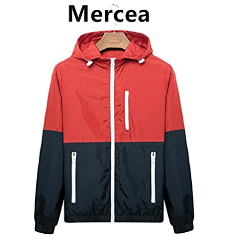 Mercea Men Women Thin Jacket with Hooded Spring Fall Outdoor Sun Protective Tops Lightweight B061
