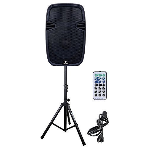 PRORECK PR-C15 Portable 15-inch 600 Watt 2-way Powered Dj/PA Speaker with Bluetooth/USB/SD Card Reader/ FM Radio/Remote Control/LED Light/Speaker Stand, Black by PRORECK