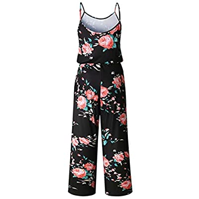 X-Image Womens Casual Jumpsuits Comfy Summer Rompers Spaghetti Strap Floral Printed Striped Jumpsuit with Pockets: Clothing