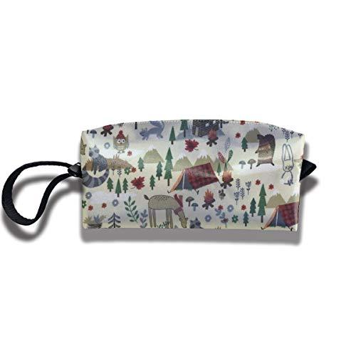 Kla Ju Portable Pencil Bag Cosmetic Pouch Camp Bear Animals Stationery Purse Storage Organizer
