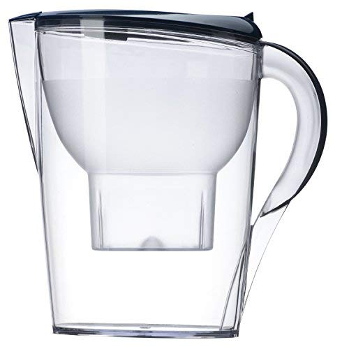 Alkaline Water Pitcher - Best for Instantly Filtered, Clean Water - 3.5 Liter - 5 Stage Filtration System Purifies & Increases PH Levels - Free Filter Included - (Blue)