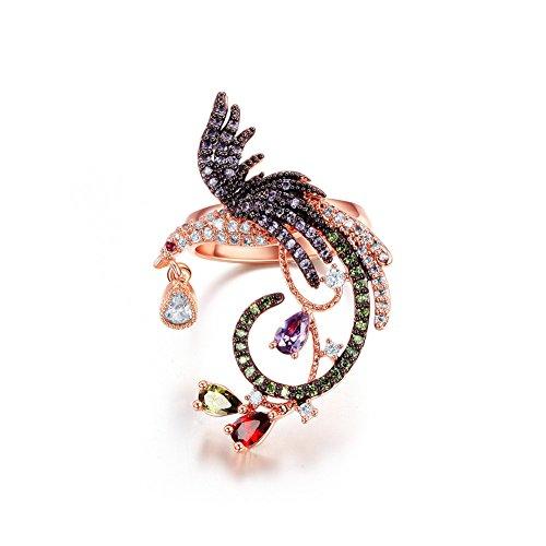 Atistic exquisito Phoenix diseño Tiny circonitas cúbicas pavimentadas Vintage anillos