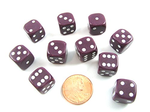 UPC 799443794644, Set of 10 Six Sided Round Opaque 12mm D6 Dice - Purple with White Pip Die