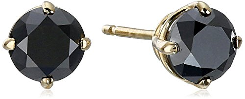 14k Yellow Gold Black Diamond Stud Earrings (1 cttw)