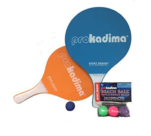 (Pro Kadima Paddle Raquet Ball Set-Solid Colors-Bundle Pack (4 Balls Included) (Orange/Blue))