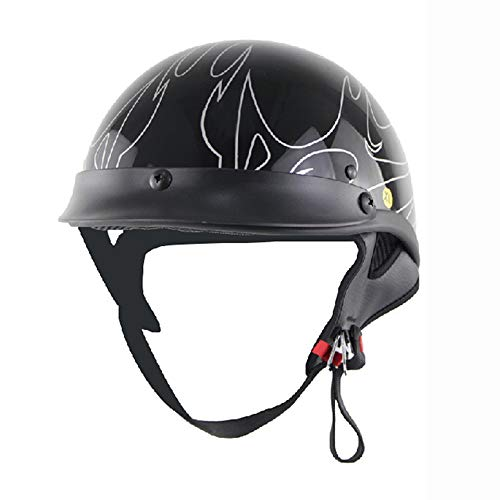 rley Helmet D.O.T Certification Cruise Retro Helmet Germany Camouflage Locomotive Prince Helmet Handmade Leather Cap,L ()