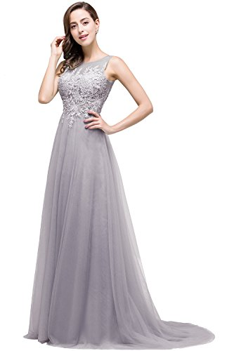 Prinzessin Cocktail Babyonline® kleid Damen Abendkleid Brautjungfern Tüll A Ballkleid Linie Langes Party Silber Iqz6wq