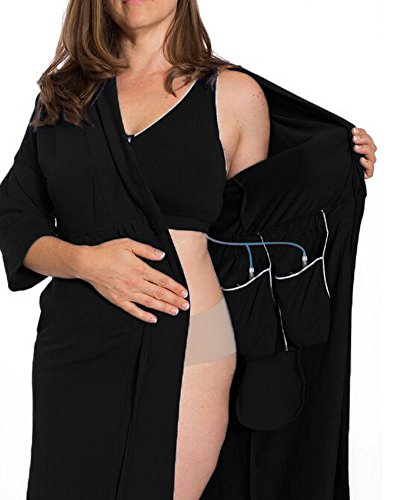 Recovery Robe- breast cancer/surgery recovery (Large, Black)