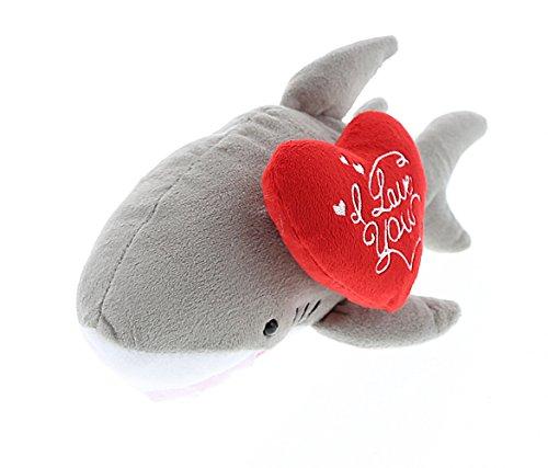 "(DolliBu Gray Shark Plush with ""I Love You"" Heart Message Sentiment, 6 Inch Soft Cushy Miniature Doll Huggable Decorative Stuffed Animal Ocean Life Themed Unique Gift & Souvenirs Toys)"