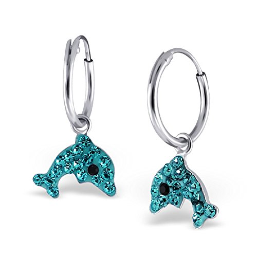 925 Sterling Silver Blue Dolphin Dangling Hoop Earrings 18757