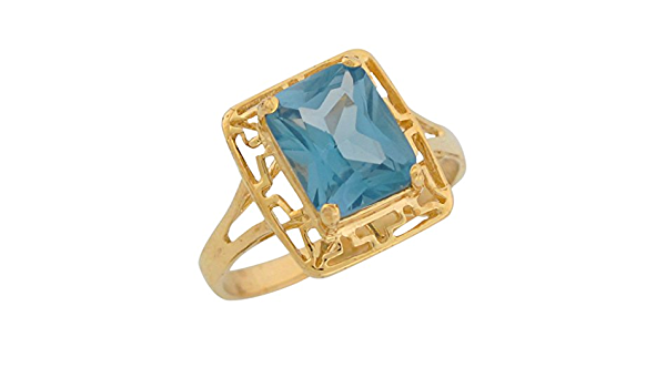 Details about  /10k Solid Gold Enamel Love Simulated Aquamarine March Birthstone Ring