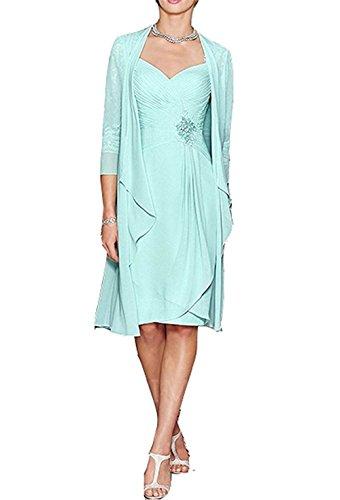 Veiai Lady's Elegant Chiffon Tea Length Mother of the Bride Dress with Jacket US10 Size Mint