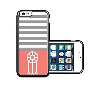 RCGrafix Brand Dream-Catcher Coral & Grey Stripes White iPhone 6 Case - Fits NEW Apple iPhone 6